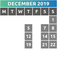December 2019 Opening Times