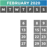 February 2020 Opening Times