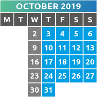 October 2019 Opening Times