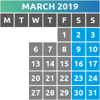 March 2019 Opening Times