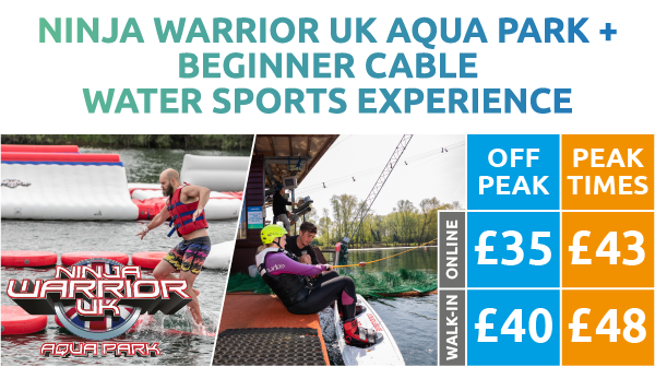 Ninja Warrior UK Aqua Park + Beginner Cable Water Sports Experience